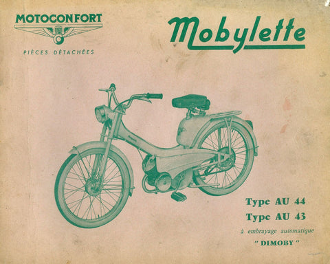 Mobylette Motobecane Moped AU44-AU43 Spare Parts Manual in French on CD