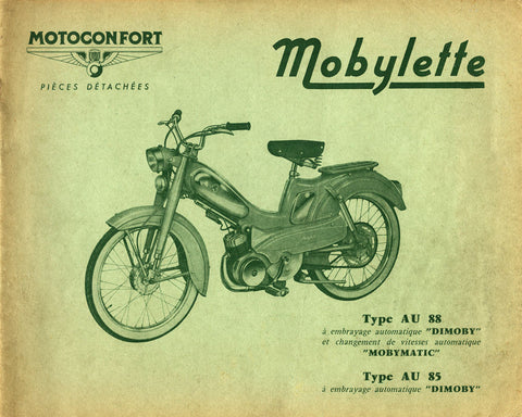 Mobylette Motobecane Moped AU85-88 Spare Parts Manual in French on CD