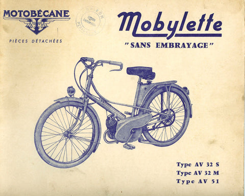 Mobylette Motobecane Moped AV32 S - 32 M - 51 Spare Parts Manual in French DOWNLOAD