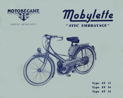 Mobylette Motobecane Moped AV33-54-34 Spare Parts Manual in French DOWNLOAD