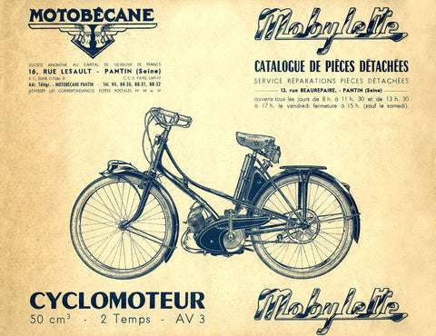 Mobylette Motobecane Moped AV3 Spare Parts Manual in French DOWNLOAD