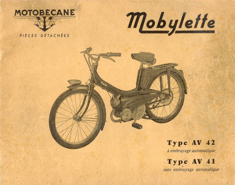 Mobylette Motobecane Moped AV41-AV42 Spare Parts Manual in French DOWNLOAD