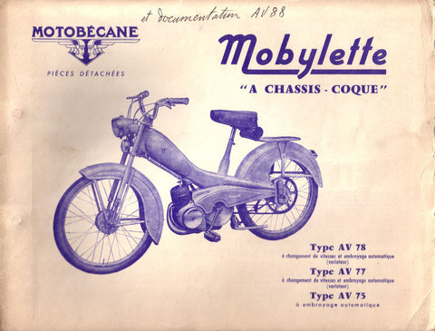 Mobylette Motobecane Moped AV78-77-75 Spare Parts Manual in French on CD