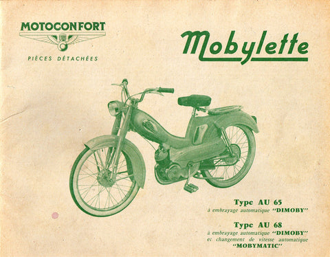 Mobylette Motobecane Moped AV AU65 - AV AU68 Spare Parts Manual in French on CD