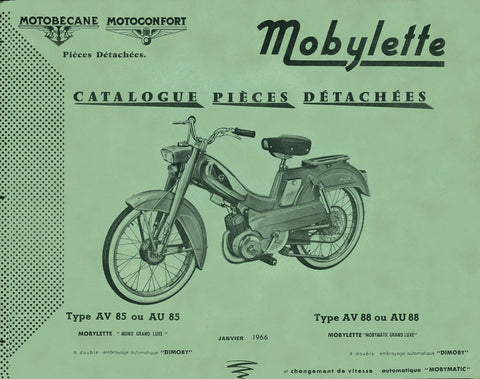 Mobylette Motobecane Moped AV AU85 - AV AU88 Spare Parts Manual in French DOWNLOAD