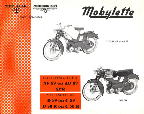 Mobylette AV AU89 - SPR - D C89 - D C50R Spare Parts Manual in French DOWNLOAD