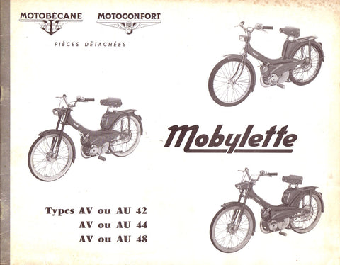Mobylette Moped AU42,AU44,AU48, AV42,AV44,AV48 (In French) Spare Parts Book with Diagrams CD COPY