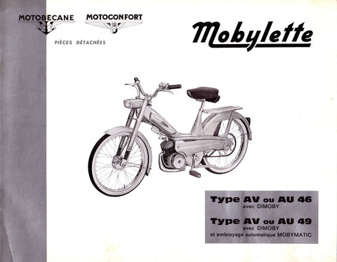 Mobylette Motobecane Moped AV AU 46-49 Spare Parts Manual in French on CD