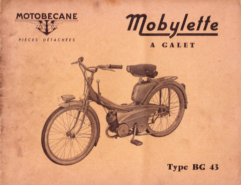 Mobylette Motobecane Moped BG CG43 Spare Parts Manual in French DOWNLOAD