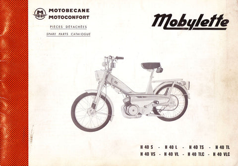 Mobylette Motobecane Moped H40 Spare Parts Manual in French on CD