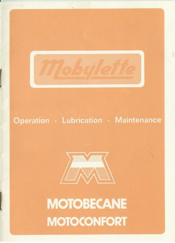 Mobylette Operation Lubrication Maintenance Manual in English on CD