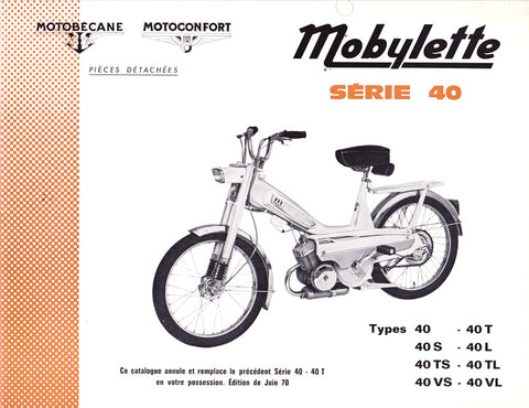 Mobylette Series 40,40S,40L,40,N40S,N40L,40TS,40TL,N40TS,N40TL,40VS,40VL (In French) Spare Parts Book with Diagrams CD COPY