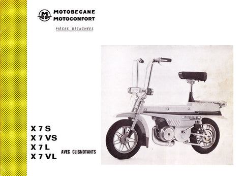 Mobylette Motobecane Mobyx X7S - VS - L - VL Spare Parts Manual in French DOWNLOAD