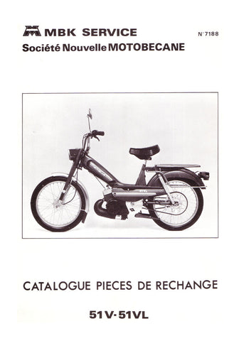 Mobylette Motobecane Moped 51V - 51VL Spare Parts Manual in French DOWNLOAD