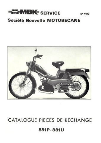Mobylette Motobecane Moped 881U - 881P Spare Parts Manual in French DOWNLOAD
