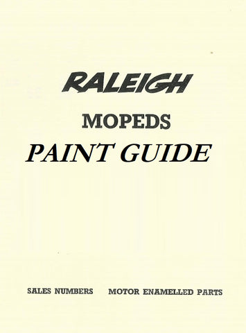 Raleigh RM4,RM5,RM6, Runabout,RM8,Phillips Panda Gadabout, Norman Nippy Lido Paint Guide - DOWNLOAD COPY