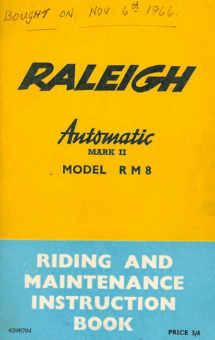 Raleigh Automatic Mark II RM8 Riding & Maintenance Instruction Book DOWNLOAD