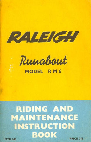 Raleigh Runabout RM6 Riding & Maintenance Instruction Book DOWNLOAD COPY