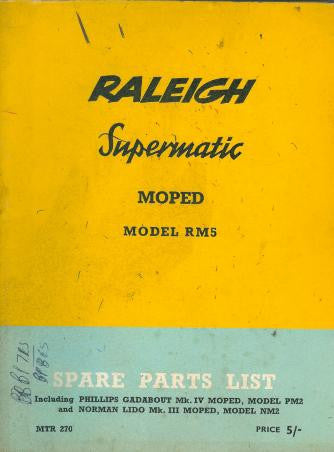 Raleigh Supermatic RM5 Spare Parts List on CD