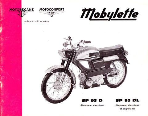 Mobylette Motobecane Moped SP93D - DL Spare Parts Manual in French on CD