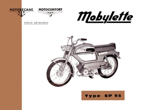 Mobylette Motobecane Moped SP93 Spare Parts Manual in French on CD