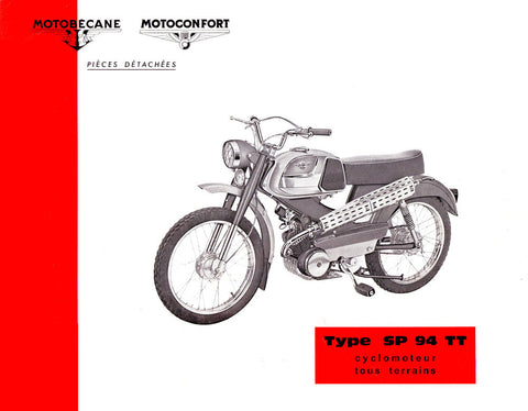 Mobylette Motobecane Moped SP94TT Spare Parts Manual in French on CD