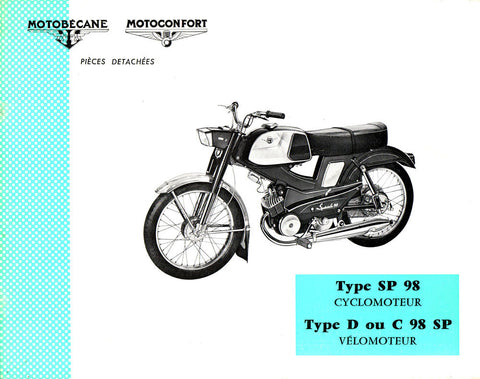 Mobylette Motobecane Moped SP98 - D C98SP Spare Parts Manual in French on CD