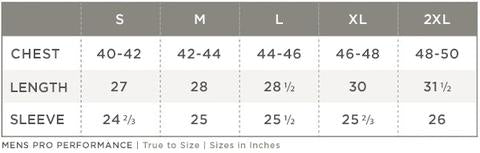 Scales Pro Performance Size Chart