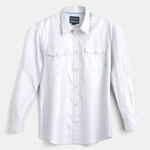 Scales Gear Performance Button Down Slack Tide Mens White Shirt - Front View