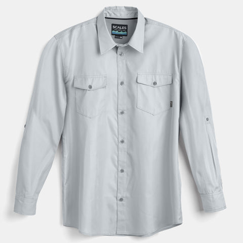 Scales Gear Performance Button Down Slack Tide Mens Cool Grey Shirt - Front View