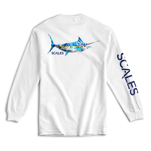 Scales Gear Tropical Marlin Long Sleeve White Shirt - Front View