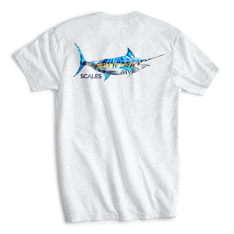Scales Gear Tropical Marlin Tee White Heather Shirt - Front View