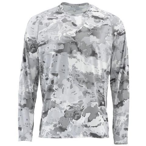 Simms Solarflex Long Sleeve Crewneck Cloud Camo Grey