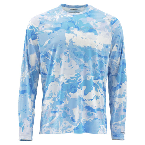 Simms Solarflex Long Sleeve Crewneck Cloud Camo Blue