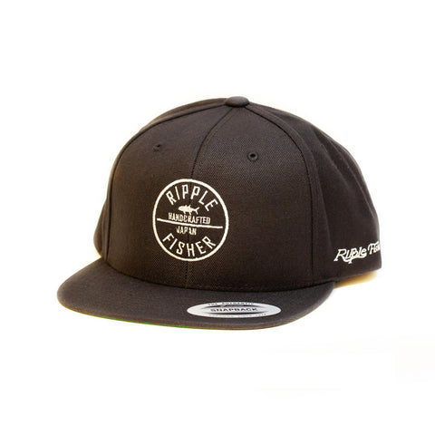 Ripple Fisher Snapback Black Patch Cap - Compleat Angler Nedlands