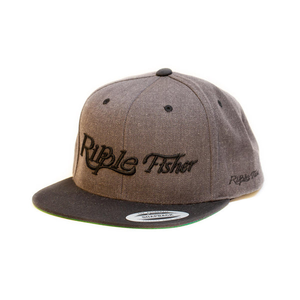 Ripple Fisher Snapback Cap Grey  Black Brim - Compleat Angler Nedlands