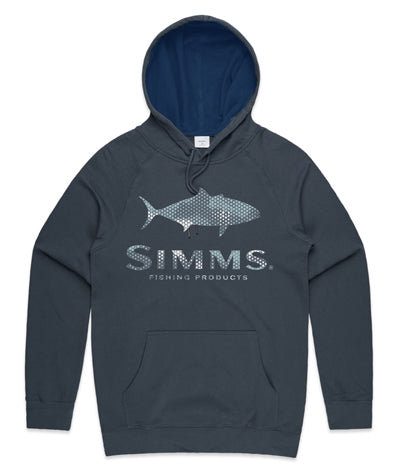 Simms Kingfish Logo Hoodie Hex Camo Storm - Compleat Angler Nedlands