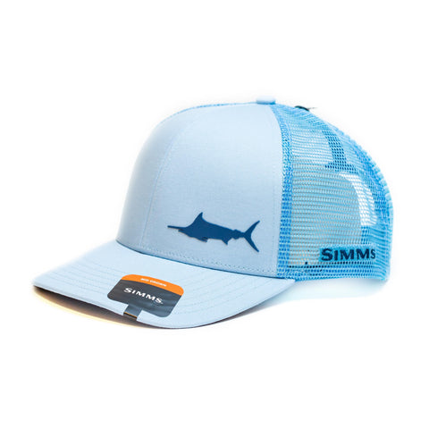 Simms Payoff Trucker Marlin Grey Blue Cap - Compleat Angler Nedlands