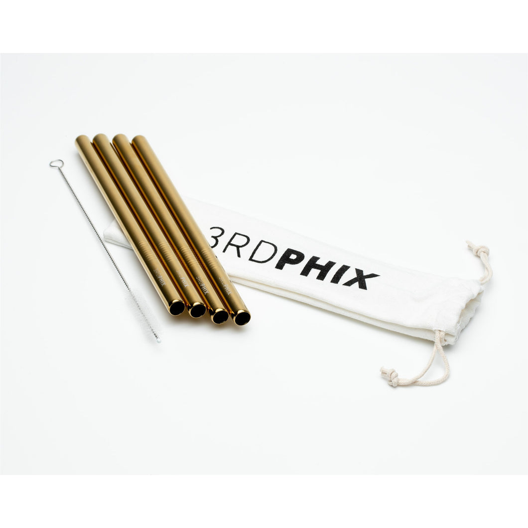 Gold Reusable Straw - 4 Pack