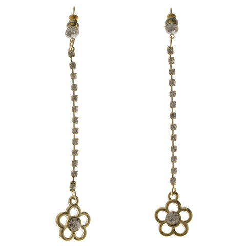 Flower Dangle-Earrings With Crystal Accents  Gold-Tone Color #4043