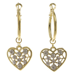 Heart Dangle-Earrings With Crystal Accents  Gold-Tone Color #4019