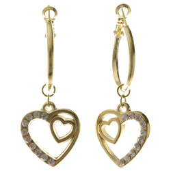 Heart Dangle-Earrings With Crystal Accents  Gold-Tone Color #4042