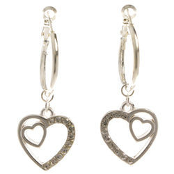 Heart Dangle-Earrings With Crystal Accents  Silver-Tone Color #4040
