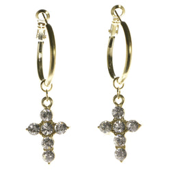 Cross Dangle-Earrings With Crystal Accents  Gold-Tone Color #3991