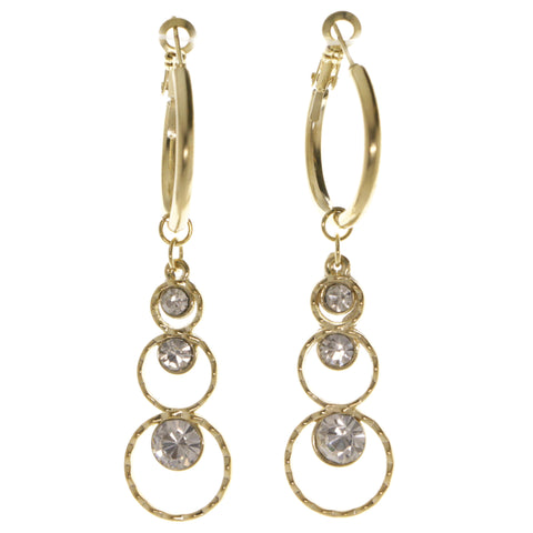 Gold-Tone Metal Dangle-Earrings With Crystal Accents #4000