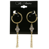 Gold-Tone Metal Dangle-Earrings With Crystal Accents #4029