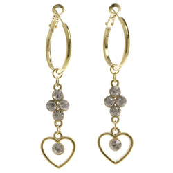 Heart Dangle-Earrings With Crystal Accents  Gold-Tone Color #4030
