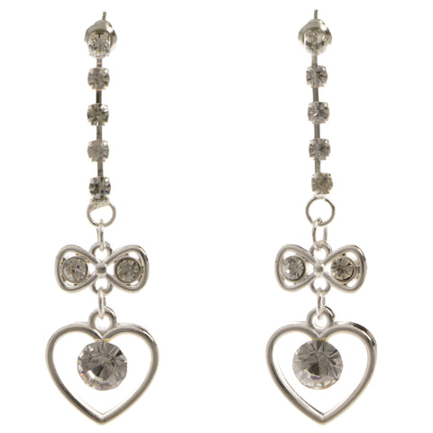 Heart Bow Dangle-Earrings  With Crystal Accents Silver-Tone Color #4025