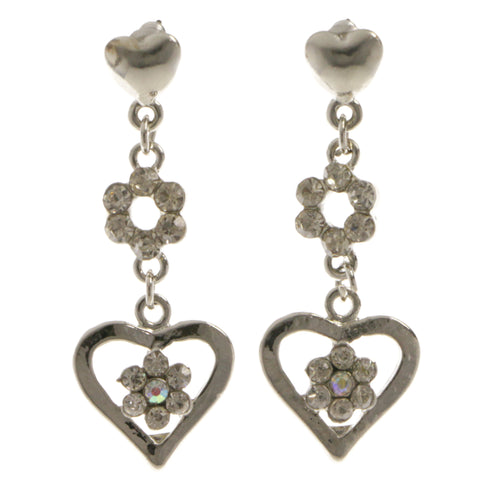 Heart Flower Dangle-Earrings  With Crystal Accents Silver-Tone Color #4018