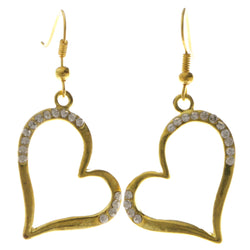 Heart Dangle-Earrings With Crystal Accents  Gold-Tone Color #4035